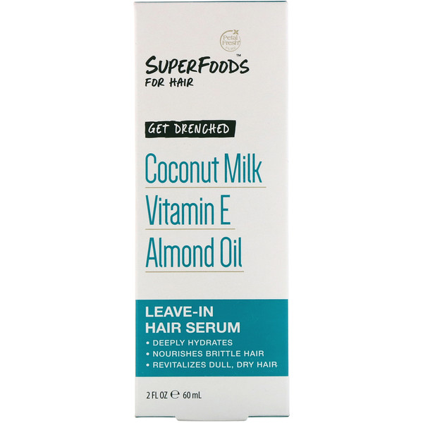 Pure, SuperFoods for Hair, Get Drenched Leave-In Hair Serum, Coconut Milk, Vitamin E & Almond Oil, 2 fl oz (60 ml)