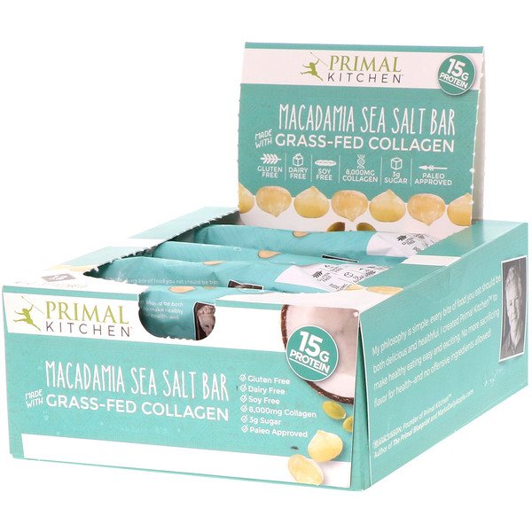 Primal Kitchen, Grass-Fed Collagen Bar, Macadamia Sea Salt, 12 Bars, 20.7 oz (588 g) (Discontinued Item)