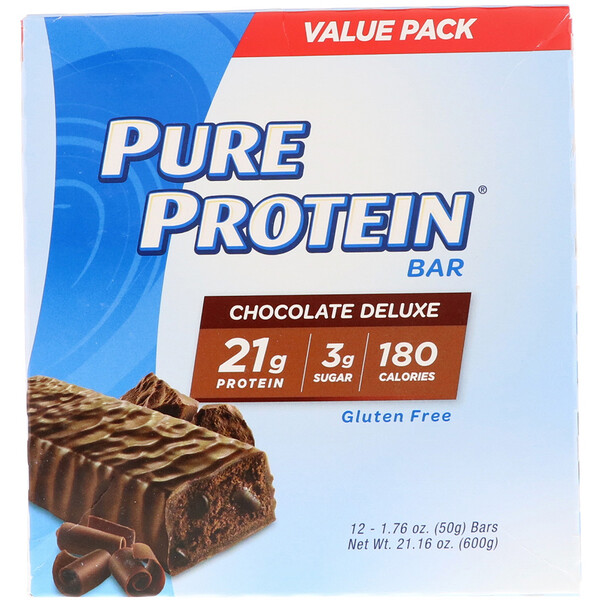 Pure Protein Bar, Chocolate Deluxe, 12 Bars, 1.76 oz (50 g) Each