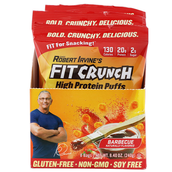 FITCRUNCH, High Protein Puffs, Barbecue, 8 Bags, 1.05 oz (30 g) Each (Discontinued Item)