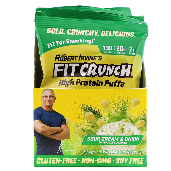 FITCRUNCH, High Protein Puffs, Sour Cream & Onion, 8 Bags, 1.05 oz (30 g) Each (Discontinued Item)