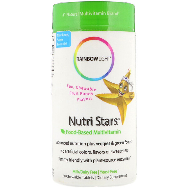 Rainbow Light, Nutri Stars, Food-Based Multivitamin, Fruit Punch Flavor, 60 Chewable Tablets