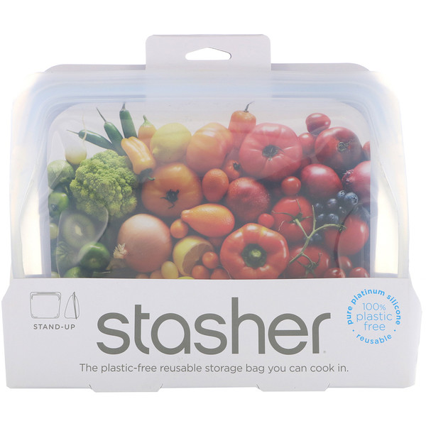 Reusable Silicone Food Bag, Stand Up Bag, Clear, 56 fl. oz. (128 g)