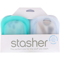 Reusable Silicone Pocket, 2 Pack, Clear & Aqua, 1.5 oz (42 g) Each - фото