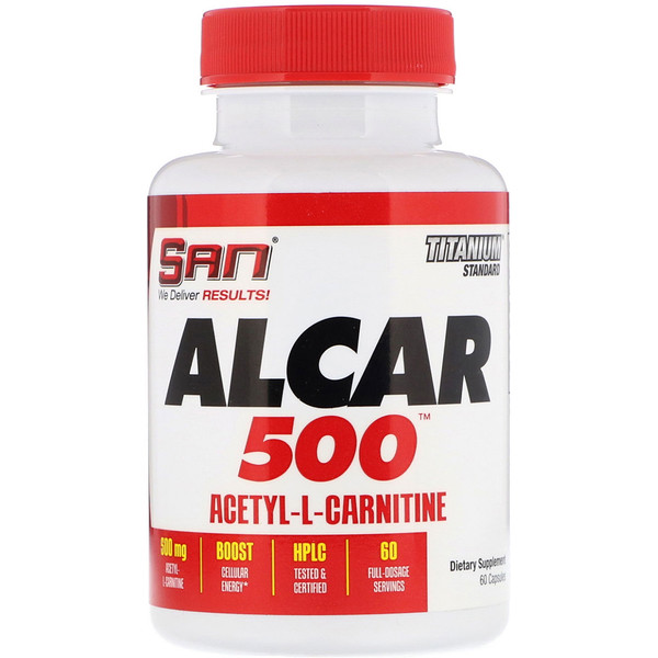 SAN Nutrition, ALCAR 500, Acetyl-L-Carnitine, 60 Capsules (Discontinued Item)