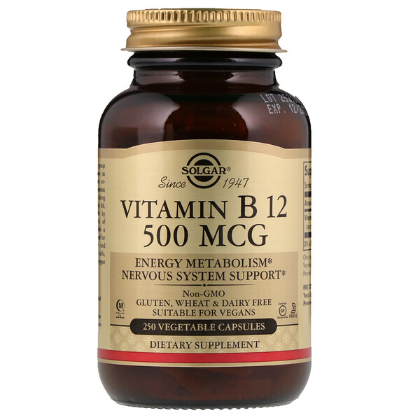 Vitamin B12, 500 mcg, 250 Vegetable Capsules