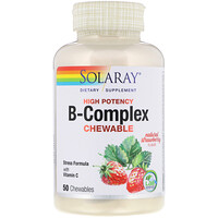 High Potency B-Complex Chewable, Natural Strawberry Flavor, 50 Chewables - фото