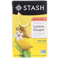 Herbal Tea, Lemon Ginger, Caffeine Free, 20 Tea Bags, 1.1 oz (34 g) - фото