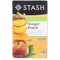 Green Tea & Matcha, Ginger Peach, 18 Tea Bags, 1.2 oz (36 g) - фото