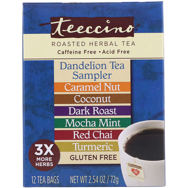 Roasted Herbal Tea Sampler, 6 Dandelion Flavors, Caffeine Free, 12 Tea Bags, 2.54 oz (72 g)