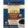 Teeccino, Roasted Herbal Tea, Dandelion Coconut Organic, Caffeine Free, 10 Tea Bags, 2.12 oz (60 g)