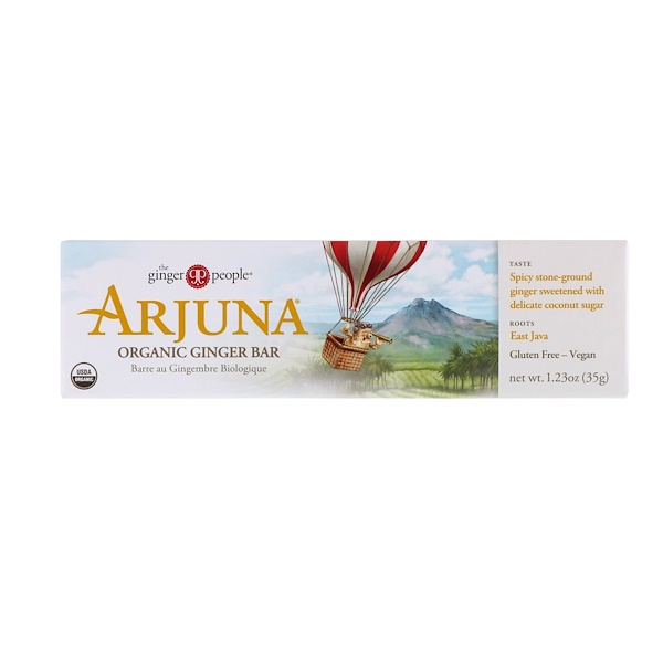 The Ginger People, Arjuna Organic Ginger Bar, 1.23 oz (35 g) (Discontinued Item)