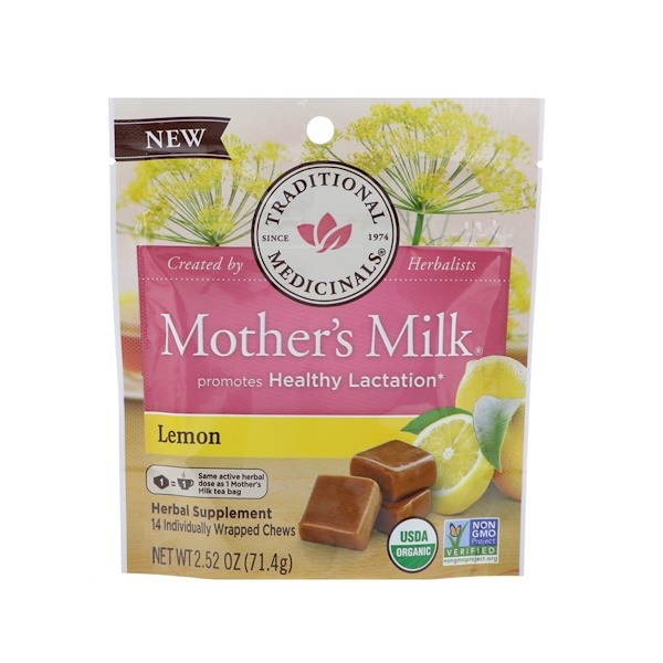 Organic, Mother's Milk, Lemon, 14 Individually Wrapped Chews, 2.52 oz (71.4 g)