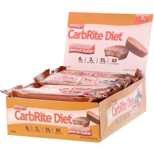 Doctor's CarbRite Diet Bars, Chocolate Peanut Butter, 12 Bars, 2.00 oz (56.7 g) Each