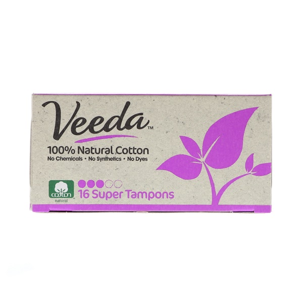 100% Natural Cotton Tampon, Super, 16 Tampons