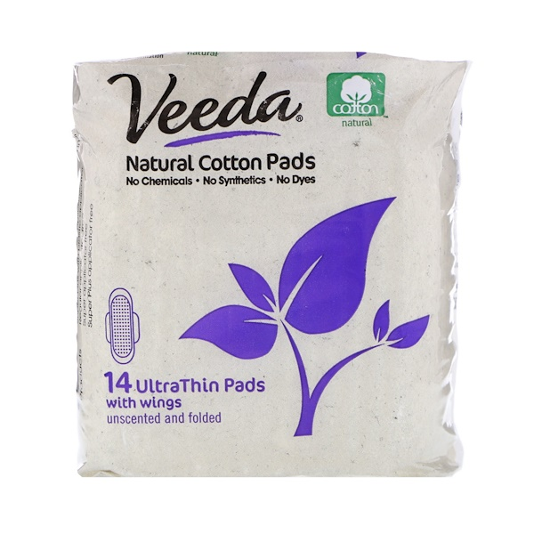 Veeda, Natural Cotton Pads with Wings, Ultra Thin, 14 Pads (Discontinued Item)