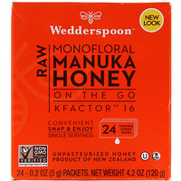 Raw Monofloral Manuka Honey, On the Go, KFactor 16, 24 Packs, 0.2 oz (5 g) Each - фото