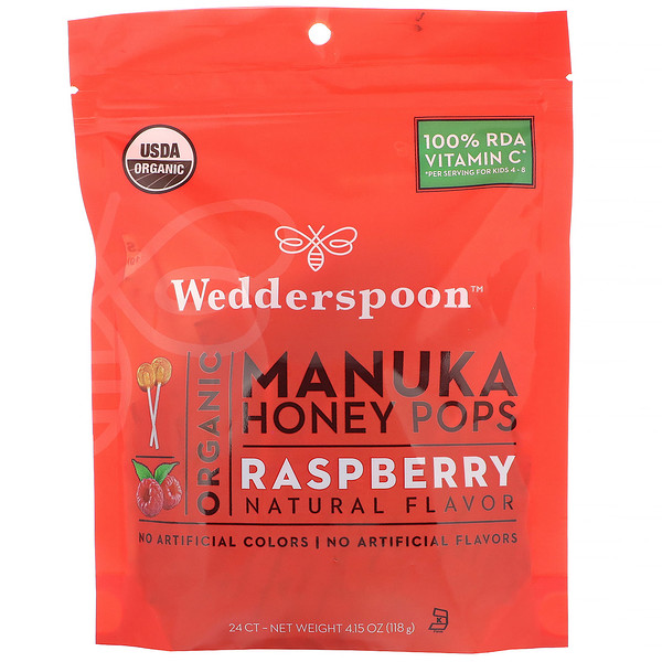 Wedderspoon, Organic Manuka Honey Pops, Raspberry, 24 Count, 4.15 oz (118 g) (Discontinued Item)