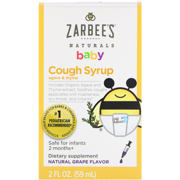 Baby, Cough Syrup, Agave & Thyme, Natural Grape Flavor, 2 fl oz (59 ml)