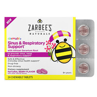 Sinus & Respiratory Support with African Geranium Root, Natural Berry , 24 Chewable Tablets - фото