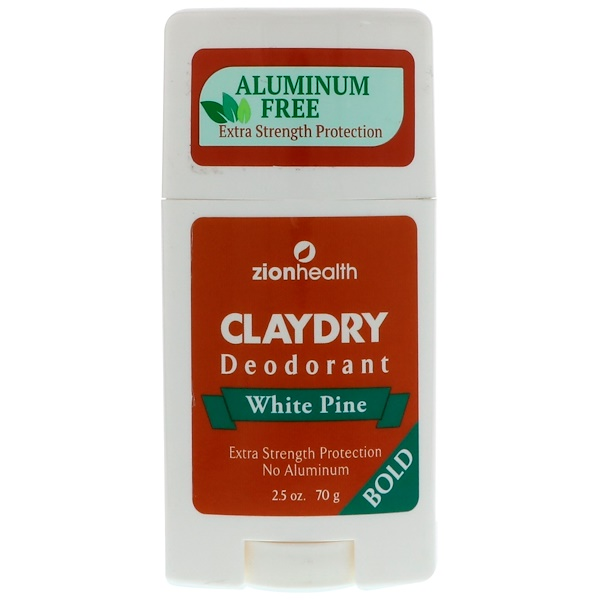 Zion Health, Clay Dry Deodorant, White Pine, Bold, 2.5 oz (70 g) (Discontinued Item)